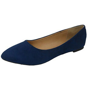 Jynx Womens Pointed Toe Slip On Ballet Flat (7 B(M) US Navy) Shoe Sale TAX FREE