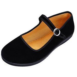 Maybest Womens Velvet Mary Jane Shoes Black Ballerina Cloth Flats Yoga TAX FREE