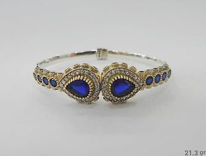 925 Sterling Silver Handcraft Turkish Jewelry Blue Sapphire Bracelet Bangle
