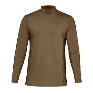 UA Coldgear Reactor Tactical Fitted Mock Coyote Brown