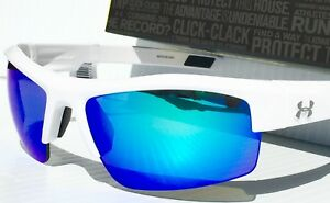 NEW* Under Armour IGNITER White w BLUE Lens Sunglass UA Athletic SAVE!