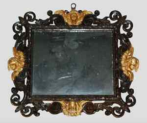 17th Century Baroque Gilt Stucco and Carved Wood Mirror Italian Antique