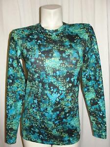 Champion Power Core Top Blue Lime Fitted LS Athletic Shirt Women's Size Large