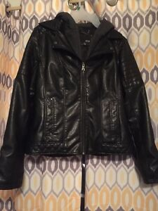 A.N.A.  ANA  faux leather jacket women's small with hoodie great price! Freeship