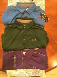 Mens Under Armour Polo shirts Size Large NWTags Loose Fit: Purple  Green  Blue