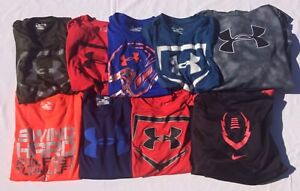 Boy's Lot Of 8 Large Under Armour Shirts & Hoodie & 1 Large Nike Hoodie