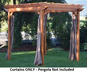 A&L Furniture Co. Weather-Resistant Acrylic Pergola Curtains Hooks Included