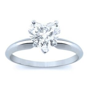 1 Ct Heart Cut Diamond Solitaire Engagement Promise Ring in Solid 14K White Gold