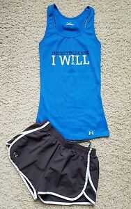 Lot of 2 Girl's LWomen's XS Under Armour Athletic Gym ShirtShorts BlueGray