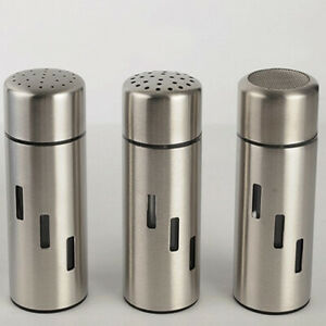 Stainless Steel Salt Pepper Shaker Spice Container Small/Mesh/Large Hole