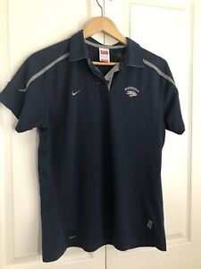 UNR Nevada Reno Polo SS Shirt Nike Dri-Fit Womens Size Large Wolf Pack Navy