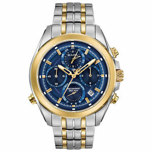 Bulova Men's Watch Precisionist Chrono Date Blue Dial Two Tone Bracelet 98B276