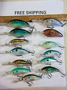 LOT OF 13 BOMBER EXCALIBUR BILL DANCE FAT FREE SHAD CRANKBAITS FISHING LURES
