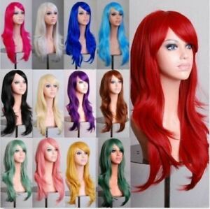 70cm Long Curly Fashion Cosplay Costume Party Hair Anime Wigs Full Hair Wavy Wig $7.99