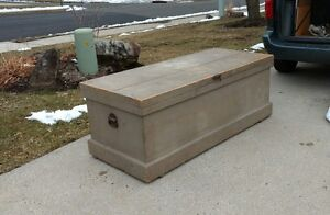Large Antique Trunk Hope Blanket Chest Tool Box $375.00