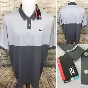 Nike Golf Tiger Woods Collection Dri Fit Stay Cool Polo Gray Shirt Sz 2XL A8-5