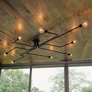 Antique Industrial Ceiling Light Steampunk Semi Flush Mount Chandelier Fixture