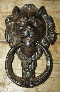 Large Cast Iron Antique Style Rustic LION HEAD Door Knocker Brown Finish $9.99