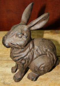 Large Cast Iron Easter BUNNY Garden Statue Yard Art Home Ranch Decor RABBIT $9.99