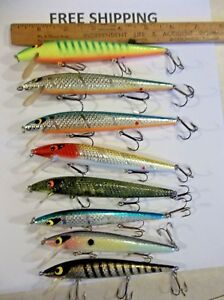 lot of 8 smithwick rogue fishing lures SOME NICE COLORS JERKBAIT TACKLE BOX FIND