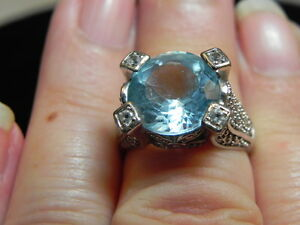 Vintage sterling silver blue topaz cocktail ring  Art Deco style  Size 8 12