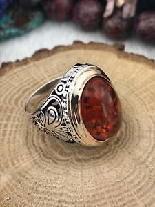 Handcraft Turkish 925 Sterling Silver Jewelry Amber  Gemstone Men's  Ring