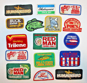 16 Vintage Fishing Patch Lot Red Man Bass Tournament Shakespeare Blue Fox Lures