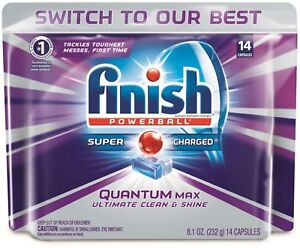 Finish Quantum Max Powerball,Dishwasher Detergent Tablets,Clean - Shine 14ct 3pk