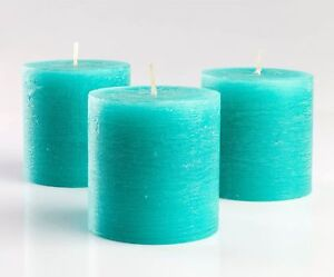 Set of 3 Turquoise Pillar Candles 3quot; x 3quot; Unscented Rustic for Wedding Home