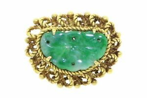 Vintage 14k yellow gold carved green jade asian cocktail ring size 7.5