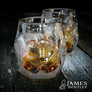 James Bentley Double Wall Whisky Glass + FREE Sphere Ice Ball Mold x2 for whiske
