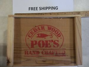 POES FISHING LURES IN COLLECTABLE WOODEN CRATE BOX RARE 4PC WOODEN FISHING LURE