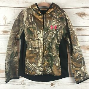 Under Armour Girls 5 Hoodie Camo Real Tree Full Zip 5Y Youth Kids New Nwt