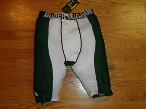 Mens L UA Under Armour MPZ Padded Compression Shorts Football Basketball Green