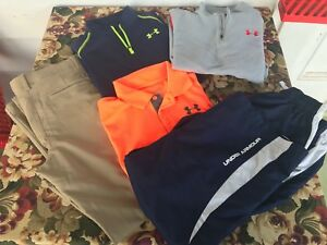 BOY'S LOT OF UNDER ARMOUR HOODIE AND TOPS - SIZE 14-16 LARGE - 5 TOTAL