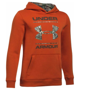 Under Armour UA Camo Fill Logo Boys' Hoodie - Blast - Large - #1297457-840 - NWT