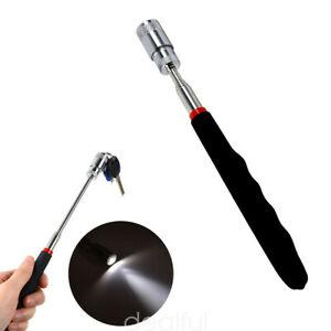 Magnetic Telescoping Pick Up Tool LED Light Rod Stick Extending Handle 32