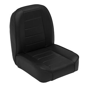 Smittybilt Front Stationary Low Back Bucket Seat for Jeep CJ 1995 - 76 Black