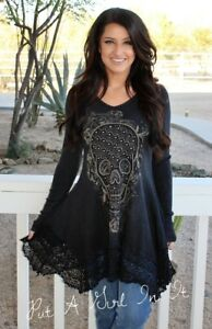 VOCAL CRYSTAL BLACK SUGAR SKULL LACE HEM BIKER PIRATE USA SHIRT TUNIC S M L XL