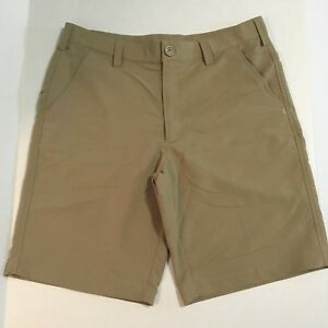 Under Armour Mens Chino Performance Shorts 34 Beige Tan Golf Flat Front