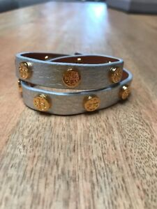 2 LEFT NWT Tory Burch SILVER Gold Logo Pebbled Leather Bracelet DOUBLE WRAP $95