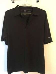 Nike Golf Polo Shirt Mens Black Short Sleeve Top Size M Dri Fit Dry -P2