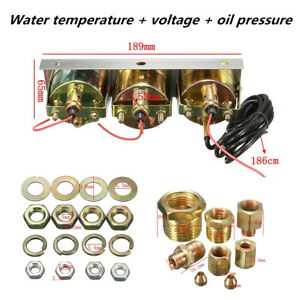 52mm 2 inch 3in1 Volt Meter Water Temp Oil Pressure Meter Car Auto Triple Gauge