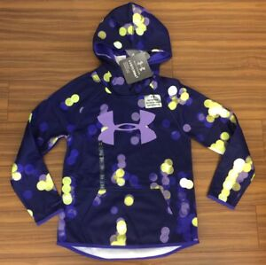 New Under Armour Youth Girls Loose Small Navy Purple $50 Hoodie Sweatshirt Storm