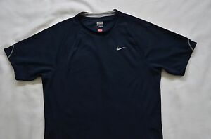 Nike Men's Small Black Polyester Fit Dry Running Sports Athletic Shirt w1