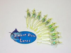 REALISTIC HOOKED RIGGED SOFT BODY PLASTIC SHRIMP PRAWN LURES BAIT SALTWATER FISH