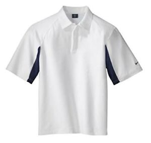 Nike Golf Dri-fit UV Polo Men's Sport Shirt WhiteNavy