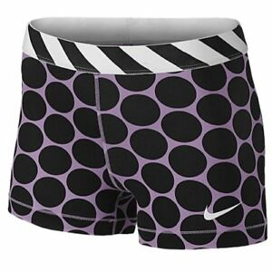 Nike Women's Pro 3'' Stripe And Dot Compression Dri Fit Shorts-XSmall-Purple