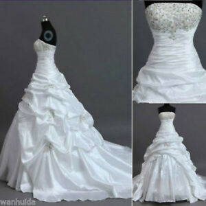 New WhiteIvory Wedding Dress Bridal Gown Custom Stock Size: 6 8 10 12 14 16 18+