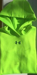 Girl's Under Armour Cold Gear Fitted Shirt Hood Hoodie Neon Youth Large YLG EUC!